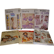Lot of 6 Vintage Doll & Doll Clothes Patterns