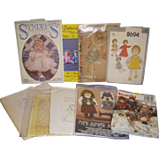 Lot of 9 Vintage Doll & Doll Clothes Patterns