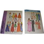 2 Vintage Doll Patterns for Barbie & Ken Matching Fashion