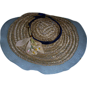 "Vintage HTF 1950s 8"" Betsy McCall Blue Straw Hat"