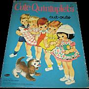 """1964 Vintage """"Cute Quintuplets Cut-Outs"""" Paper Doll Set"""