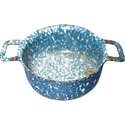 Vintage Miniature Blue Granite Ware Pan with Handles