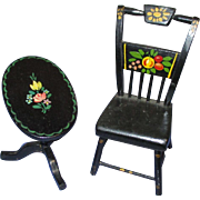 Vintage Black Hand Painted Wooden  Doll Chair and Tilt Table