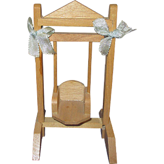 Vintage Wooden Doll Swing with Baby
