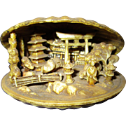Vintage Carved Japanese Clam Shell Diorama Scene in a Netsuke Style