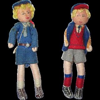 Vintage Tomac Pair of Dolls