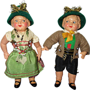Vintage German Celluloid Googly Eyed Pair of Dolls