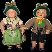 Vintage German Celluloid Googly Eyed Pair of Dolls