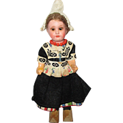 Vintage Painted Bisque German Dutch Doll in Original Costume