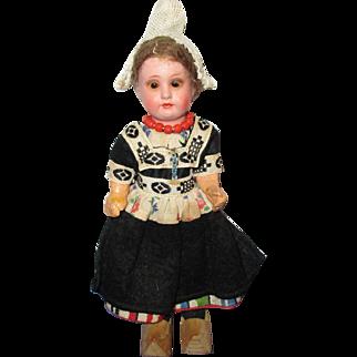 Vintage Painted Bisque German Dutch Doll in Original Costume