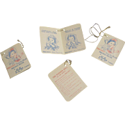 Vintage Original Mollye Doll Hand Tags-Lot of 4
