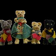 Vintage German BAPS Mother & 3 Little Kittens that lost their Mittens Set of Dolls