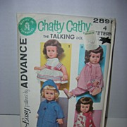 Advance 1962 Vintage Official Mattel Chatty Cathy Doll Pattern. - Red Tag Sale Item