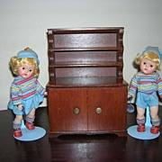 Vintage Halls Dark Wooden Hutch for Dolls!