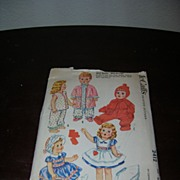"""McCall's Vintage Tiny Tears, DyDee, Betsy Wetsy, Baby Toodles Doll Pattern for 23""""-25"""" Dolls."""
