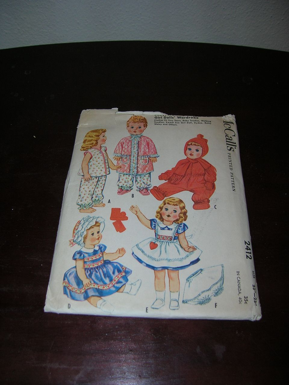 "McCall's Vintage Tiny Tears, DyDee, Betsy Wetsy, Baby Toodles Doll Pattern for 23""-25"" Dolls."