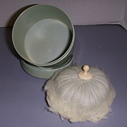 Victorian Period Ivory, Silk, and Swan's Down Powder Puff in Celluloid Powder Box!