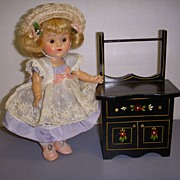 HTF Vintage Black Lacquered Wood Doll Wash Stand!