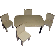 Vintage Strombecker Miniature Wooden Kitchen Table and 4 Chairs