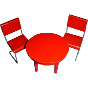 Vintage Miniature Wooden Red Table and 2 Chairs