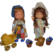 "1970s Knickerbocker 6"" Holly Hobbie  & Heather Dolls"