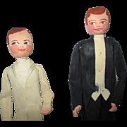 Vintage Crepe Paper Male Dolls Lot of 2