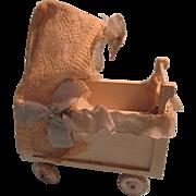 Vintage German Wooden Baby Carriage
