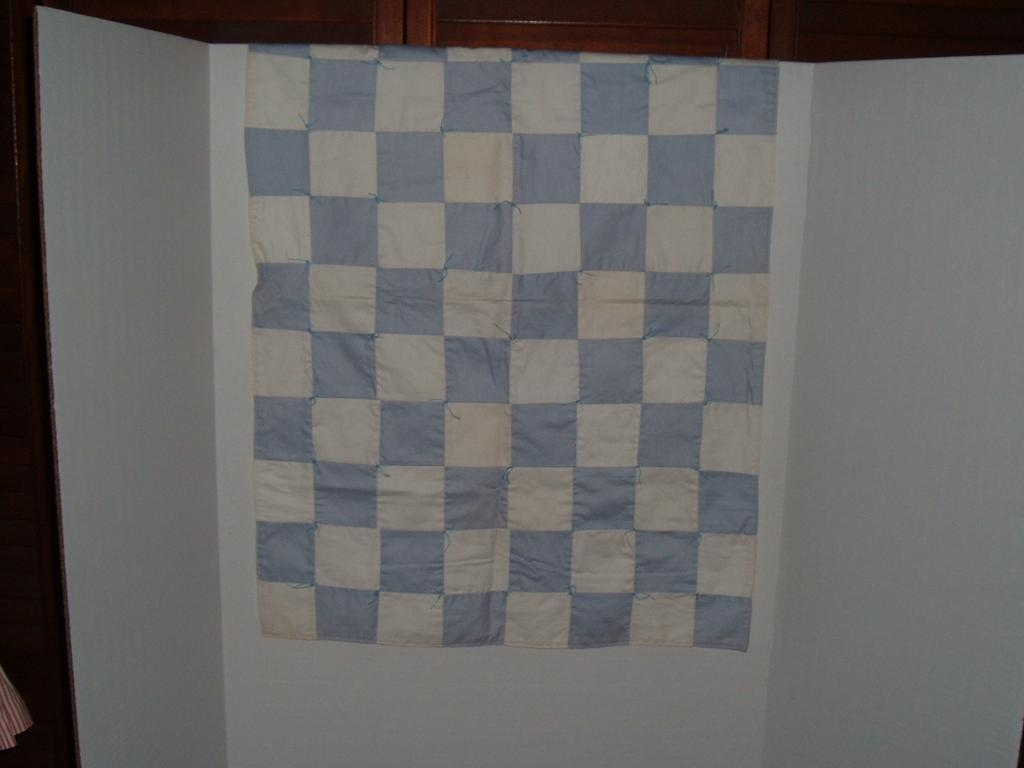 "Vintage Blue and White Coverlet /Quilt  21"" by 30"""