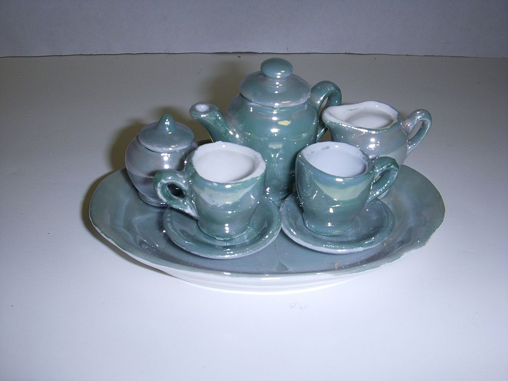 Vintage Miniature Blue Luster Tea Set Made in East Germany!