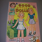 """6 Good Little Dolls"" Paper Dolls Uncut 1950s! - Red Tag Sale Item"