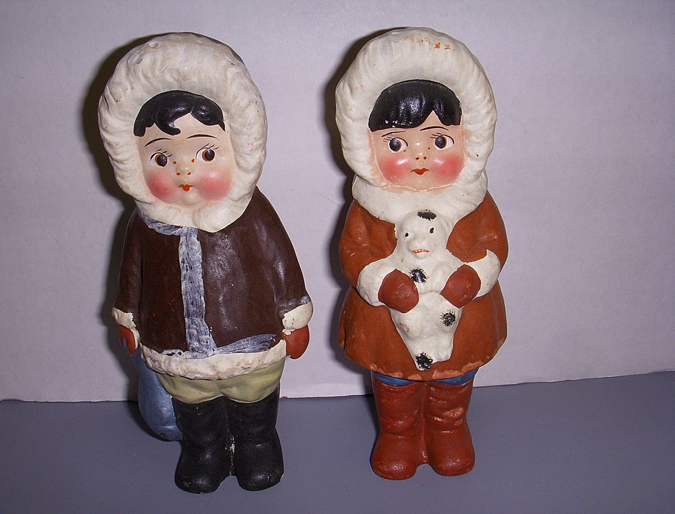 All Bisque Hand Painted Pair of Dolls!