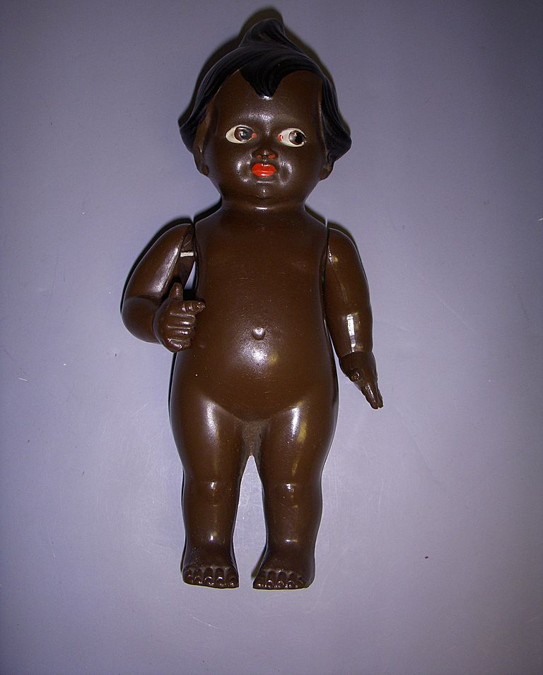 Vintage German Celluloid Black Kewpie Character Doll!