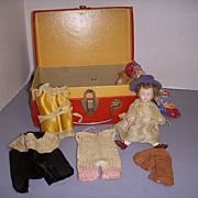 Antique German All Bisque Doll with Wardrobe!
