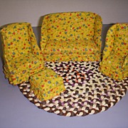 Vintage Doll Furniture Miniature Upholstered Sofa and Chairs Set of 4 Pieces!