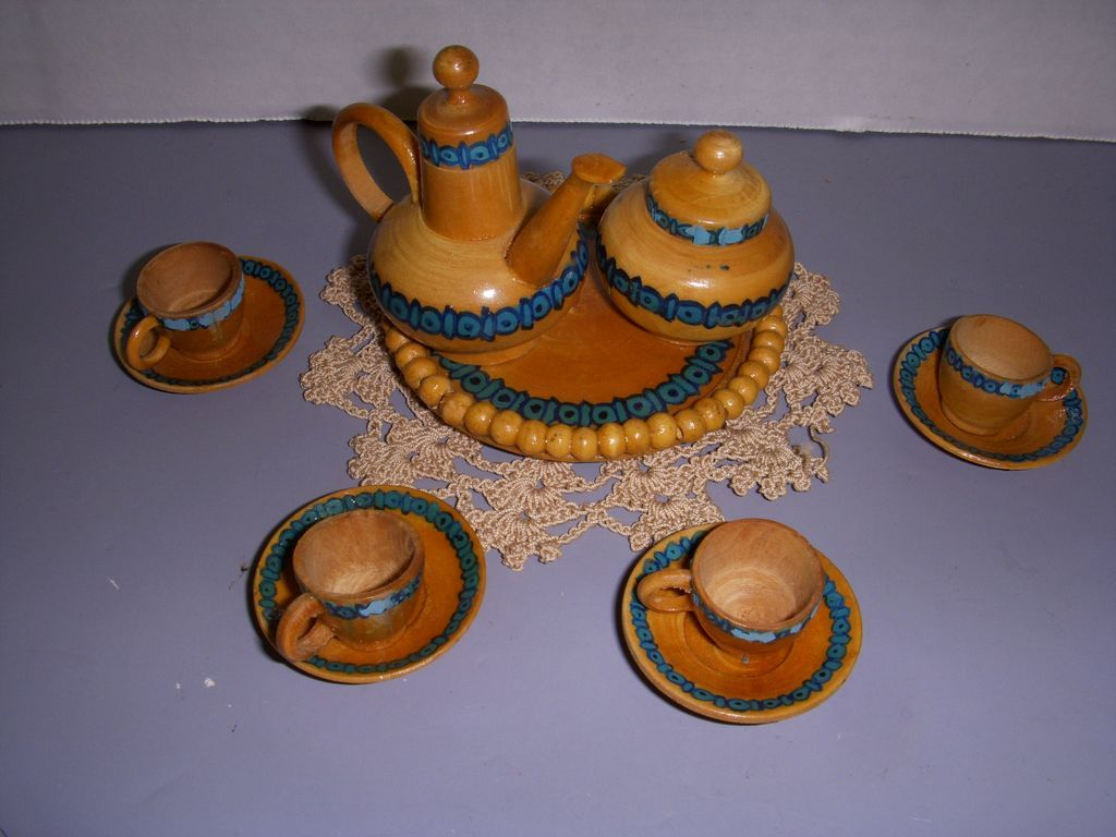 Vintage Miniature Wooden Doll Size Tea Set!