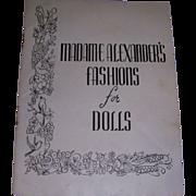 """Vintage Original Madame Alexander """"Fashions for Dolls"""" Booklet!"""