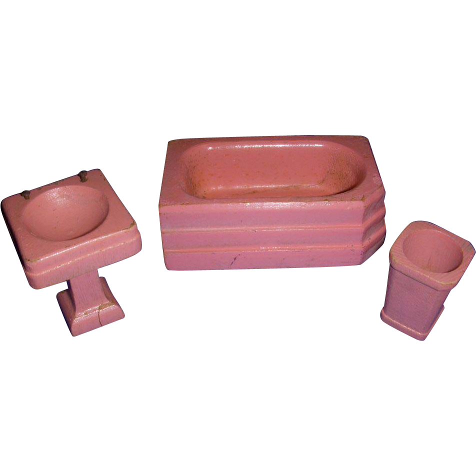 Vintage 1930s Strombecker Pink Wooden 3-Piece Bath Room Set!