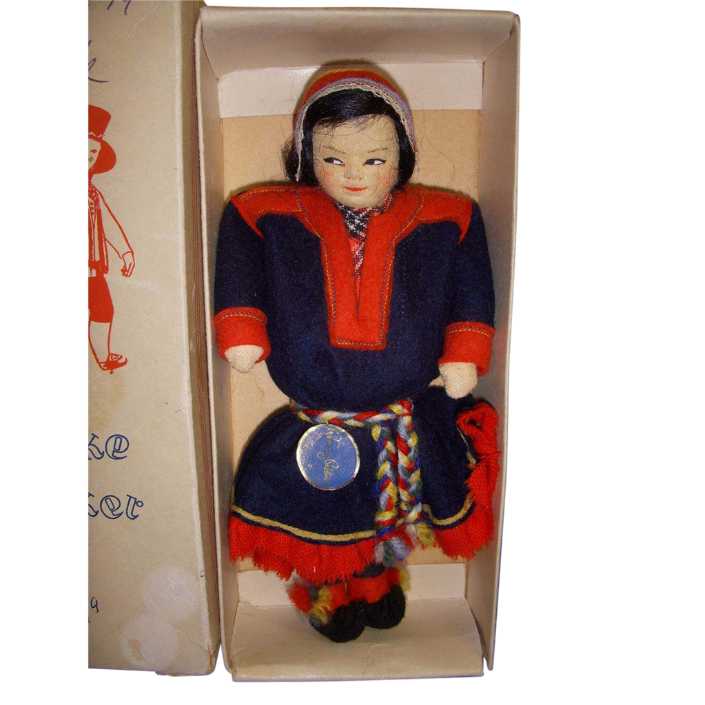 "Vintage Ronnaug Petterssen ""Sami"" Doll All Original in Box!"