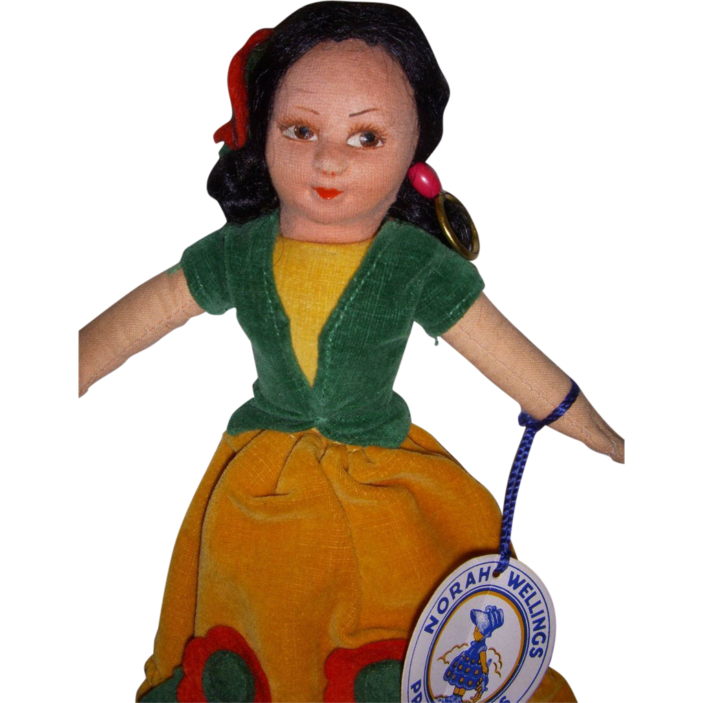 "Vintage Cloth Norah Wellings ""Mexican Girl"" Doll with Hand Tag & Label!"