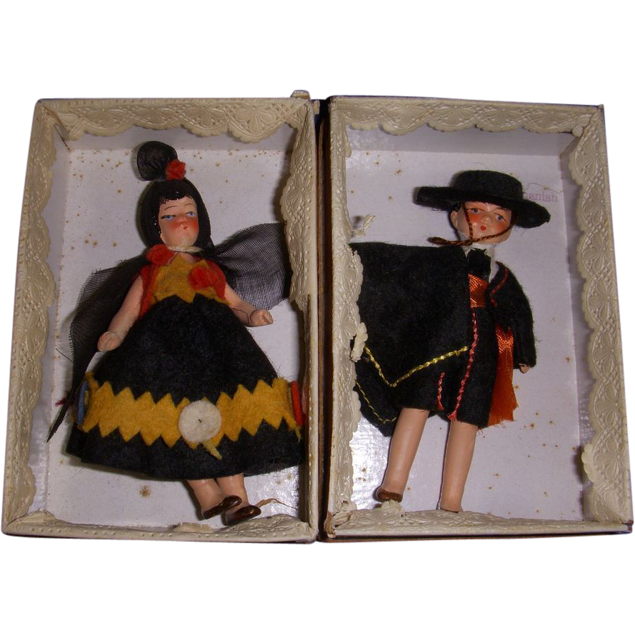 Vintage All-Bisque German Pair of Doll-House Dolls MIB!