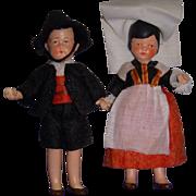 Vintage All-Bisque German Dolls! Large Ethnic Pair!