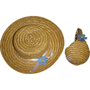 Vintage 1950s Straw Hat & Purse Set