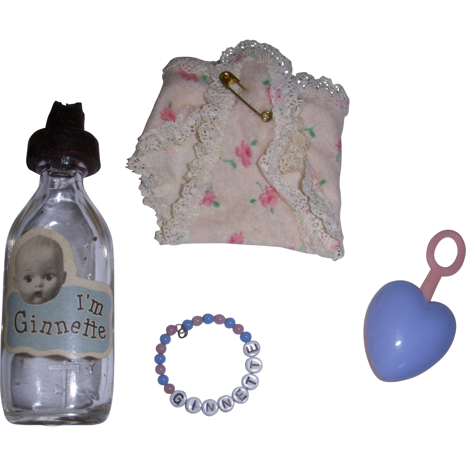 Vintage 1950s Ginnette Doll Accessories Lot of 4 Items
