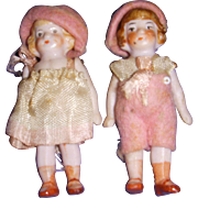 Vintage All-Bisque German Miniature Pair of Dolls All Original