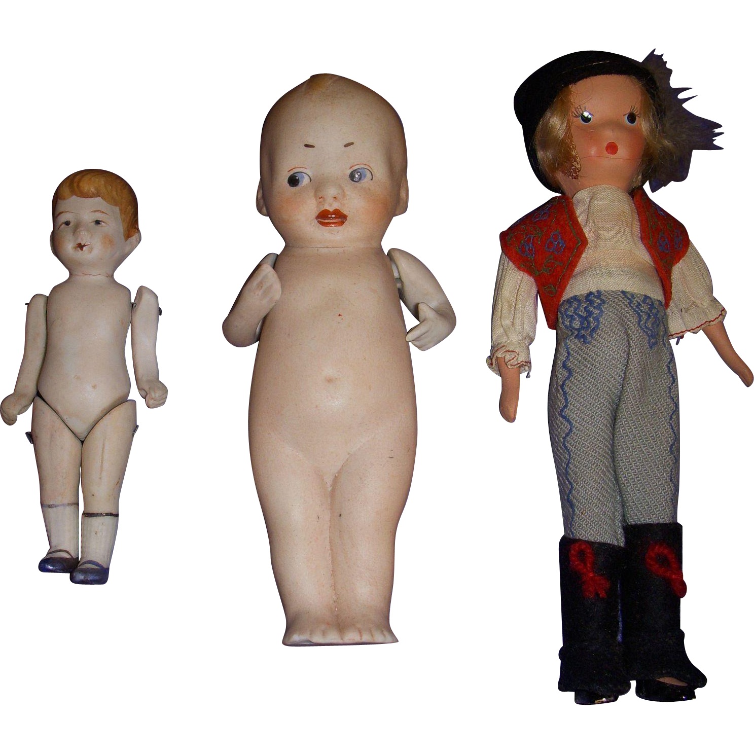 Vintage All-Bisque Dolls Lot of 3