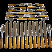 25 Vintage BUTTERSCOTCH YELLOW BAKELITE Flatware Utensil Knifes, Spoons Forks