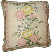 Gorgeous Vintage Barkcloth CABBAGE ROSES Pillow, Down Filled, Fringe Edge