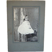 Antique CDV CABINET PHOTOGRAPH, Adorable Little Girl ~ Huge White Gown