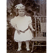 Sweet Antique CDV PHOTOGRAPH, Little Girl Holding Wicker Rocker, ADORABLE!