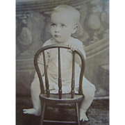 Antique Cabinet Card PHOTOGRAPH, Baby Straddling Children's Chair, Unusual Pose